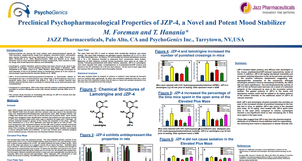 Preclinical Psychopharmacological Properties of JZP-4, a Novel and Potent Mood Stabilizer