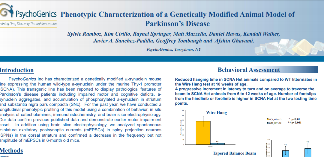 Phenotypic characterization of a genetically modified animal model of Parkinson's Disease