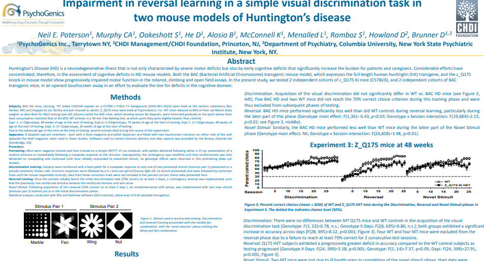 Impairment in reversal learning in a simple visual discrimination task in two mouse models of Huntington's disease.